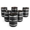 Stainless Steel Black Silver Lining Glasses Set(250 ml)