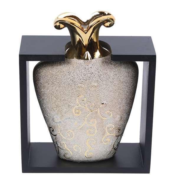 Ceramic Flower Vase in Wooden Frame