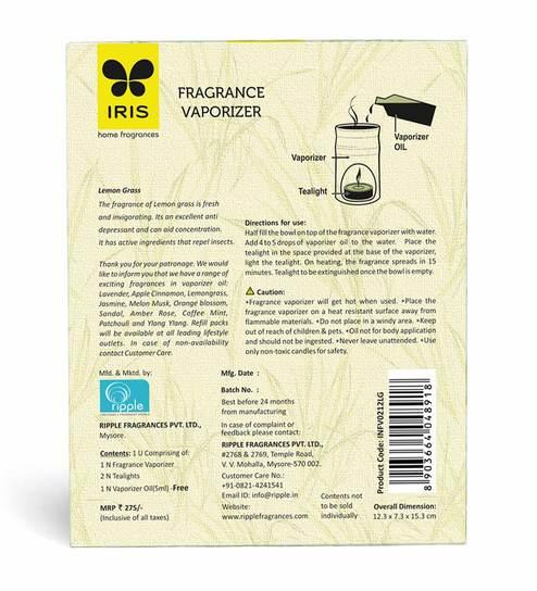 Iris Lemon Grass Fragrance Vaporizer Oil with Burner