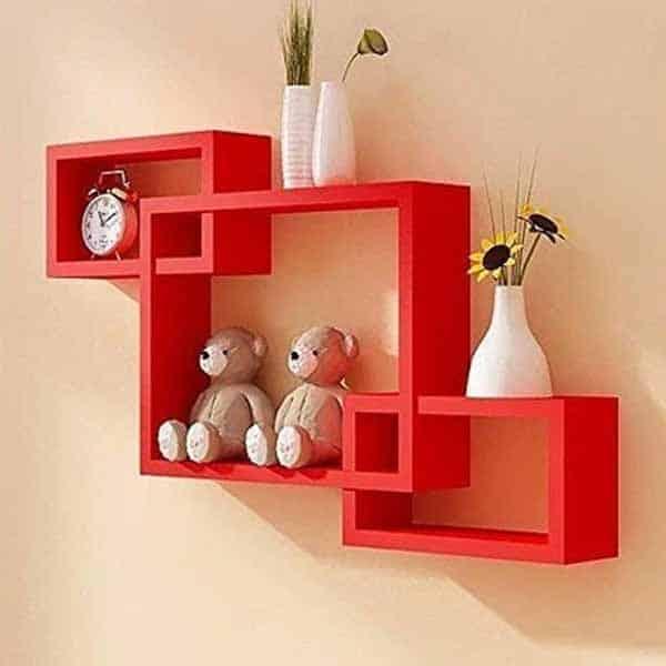 Intersecting Laminate Wall Shelf