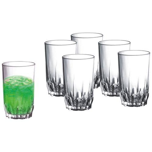 Sanjeev Kapoor Floral Juice Glass Set, 256ml, Set of 6, Transparent