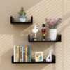 Wood Floating Wall Shelf in Black Color