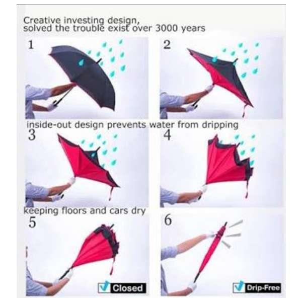 Black Inverted Windproof Upside Down Umbrella-Unisex