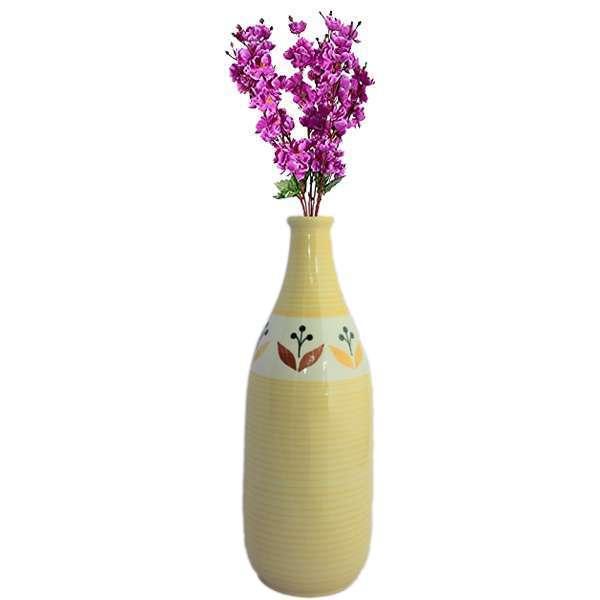 Ceramic Handmade Yellow Bottle Shape Table Vase
