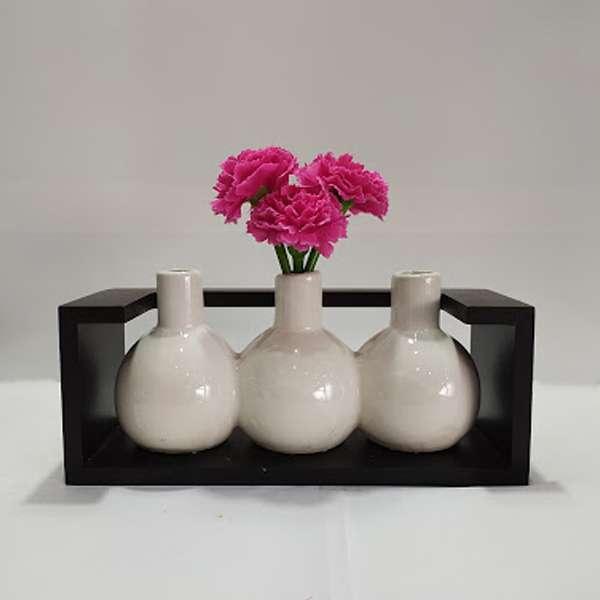 Stylish Ceramic Flower Vase in a Wooden Frame