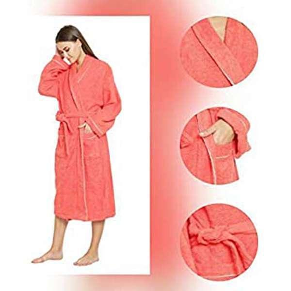 Soft & 100% Pure Cotton Bathrobe(Hot-Coral, Standard)