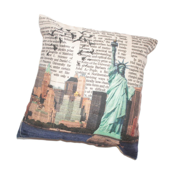 Printed Jute Cushion with Filling