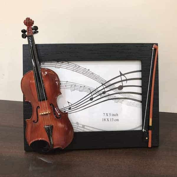 Wooden Table Photo Frame with Violin Design
