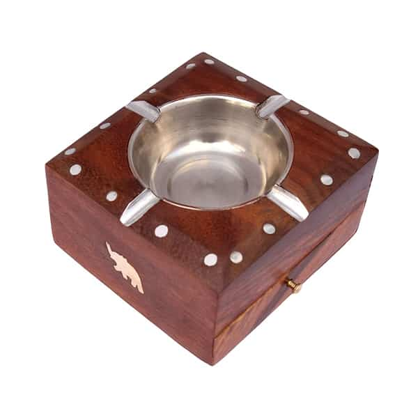 Wooden Ashtray with Cigarette Holder