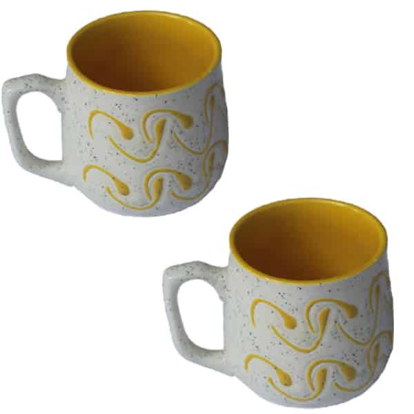 Elegant Design Coffee Mug Set 6 Pcs (Yellow)