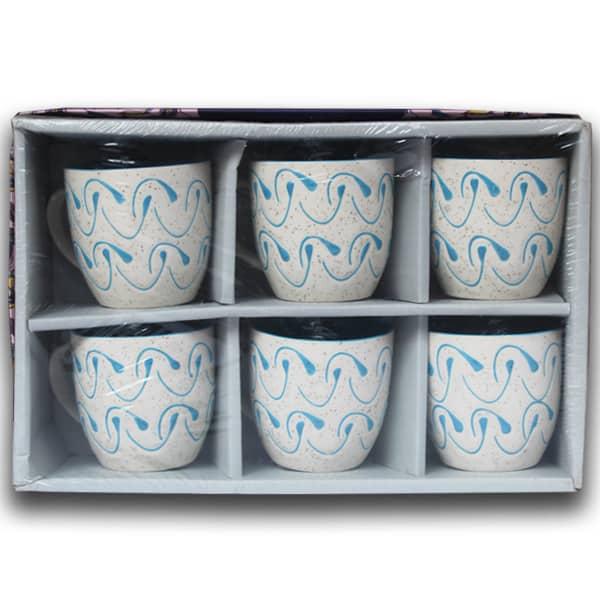 Elegant Design Coffee Mug Set 6 Pcs (Blue)