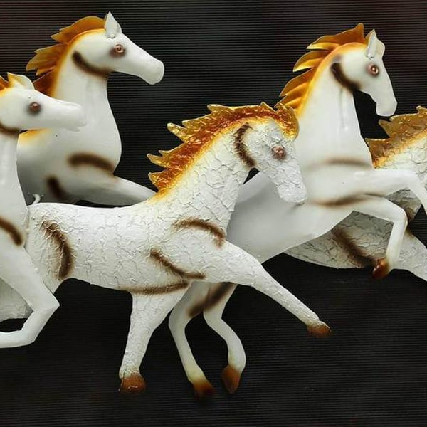 Wall Mounted 7 Running White Horses Frame with LED Light