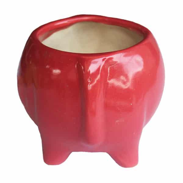 Elephant Shaped Ceramic Pot/ Planter (Red)