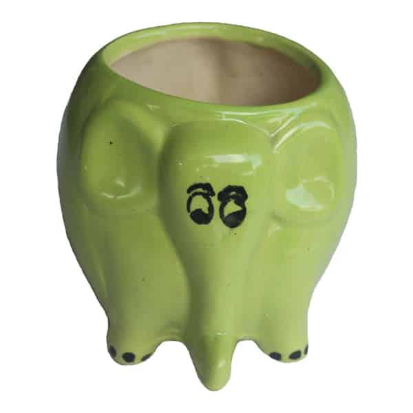 Elephant Shaped Ceramic Pot/ Planter (Green)