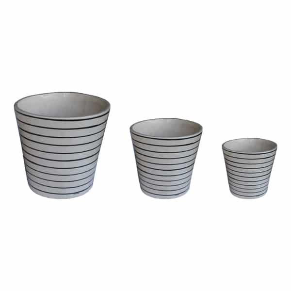 Ceramic Planter With Black Lined Design Set of 3