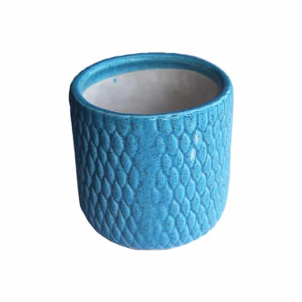 Round Ceramic Pot/ Planter With Design (Blue)