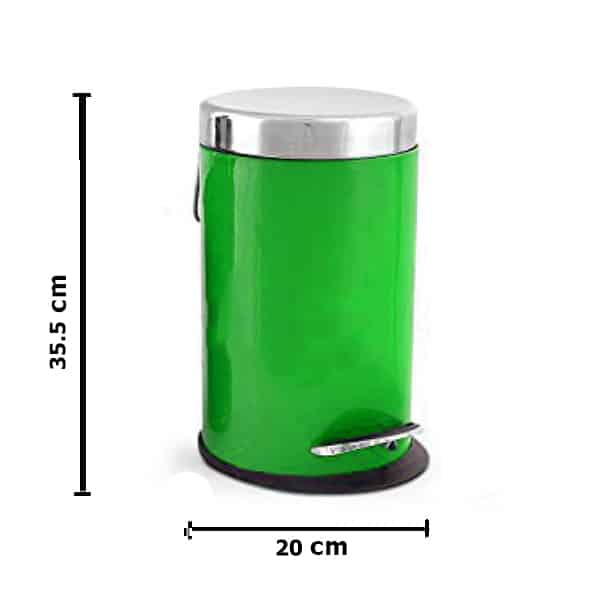 Stainless Steel Dustbin with Removable Bucket (Green)