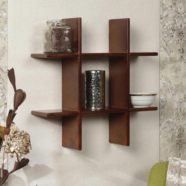 Intersecting MDF Wood Wall Shelf