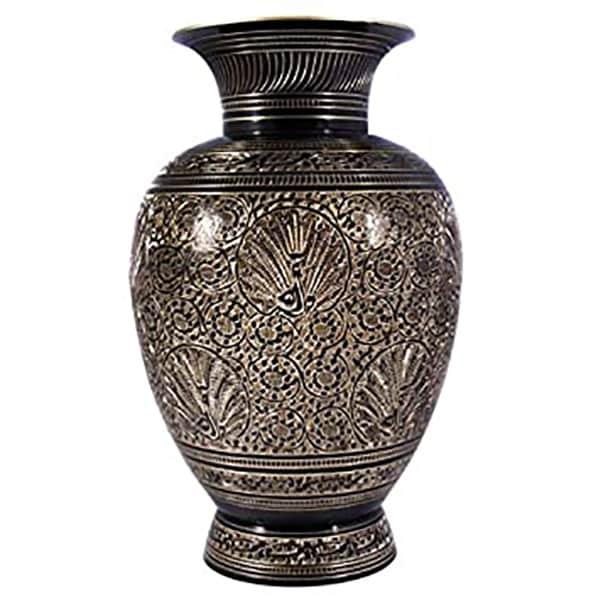 Brass Flower Vase, Medium Size (Black and Gold)