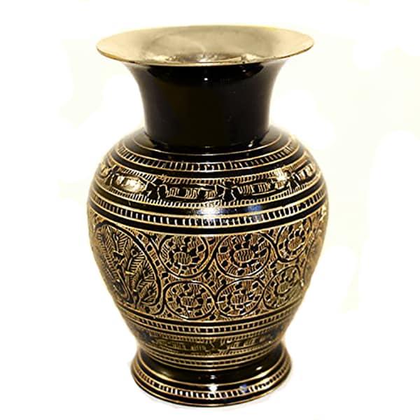 Brass Flower Vase (Black and Gold)