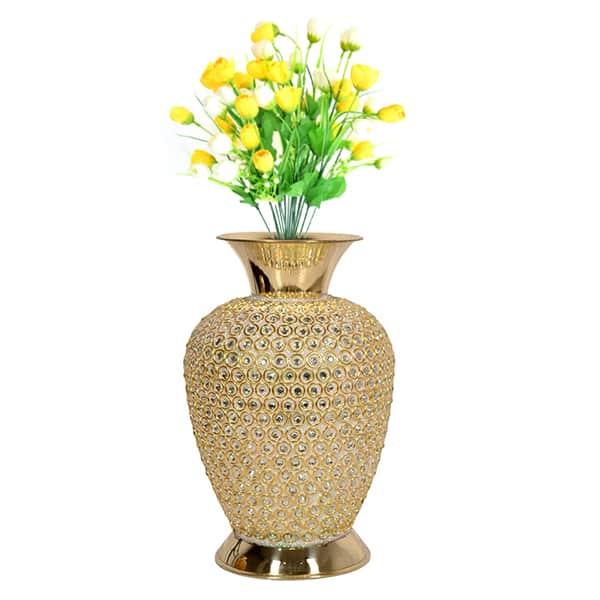 Brass Flower Vase with Stone Design (Golden)