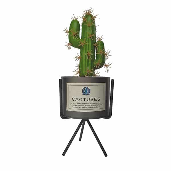 Artificial Cactus Plant with Metal Pot